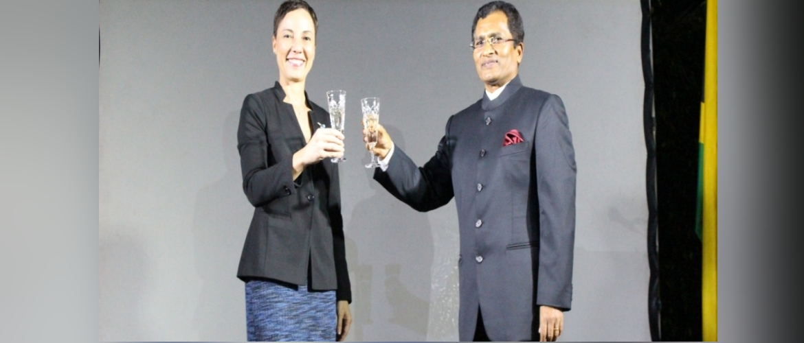 High Commissioner of India H.E. M. Sevala Naik with the Foreign Minister of Jamaica, The Hon'ble Kamina Johnson Smith during India's National Day celebrations in Kingston (January 27, 2020)